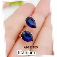Anting Titanium Silver Deasy Mata Biru Tetes AT-181105