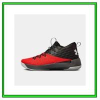 Sepatu Basket Under Armour Lightning 5 Black Red Original 3020619-003