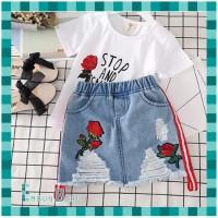 Baju Setelan Dress Anak Perempuan Rok Jeans Korea Import Murah