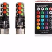 NEW 2PC LAMPU SENJA LED RGB T10 COB 16 WARNA REMOTE UNTUK MOBIL MOTOR
