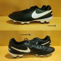 Nike Tiempo Genio II Leather FG - Black White. Sepatu Bola Original