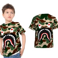 Kaos T-Shirt Anak Unisex CAMO BAPE SHARK 3D FullPrint Art 01