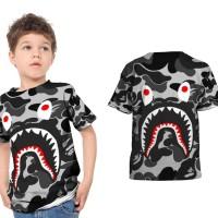 Kaos T-Shirt Anak Unisex CAMO BAPE SHARK 3D FullPrint Art 03