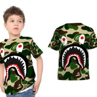 Kaos T-Shirt Anak Unisex CAMO BAPE SHARK 3D FullPrint Art 05