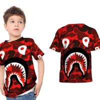 Kaos T-Shirt Anak Unisex CAMO BAPE SHARK 3D FullPrint Art 02