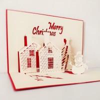 Kartu Natal 3D Castle DIY Christmas Card Kartu Ucapan Natal Kastil