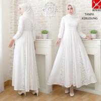 Baju Gamis Putih Wanita Brukat Syari Putih Lebaran Baju Umroh 80930