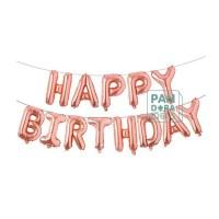 Balon Foil Huruf Happy Birthday Set Rose Gold |Balon Ulang Tahun
