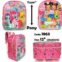 Tas Ransel Sequin Anak TK Berubah Gambar Tsum Tsum jadi Little Pony