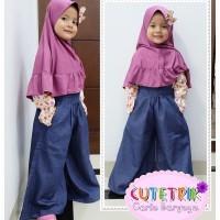 (3-7 tahun) WB 10 Baju Muslim Anak Cutetrik Setelan Jumpsuit Kulot Pur