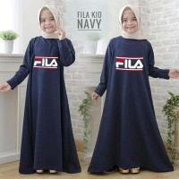 Gamis anak fila kid navi maxi dres baju muslim anak