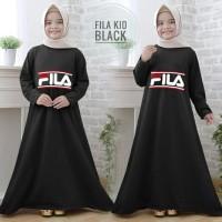 Gamis anak fila kid hitam maxi dres baju muslim anak