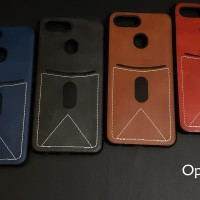 Oppo F9 card slot leather back cover soft silicone case
