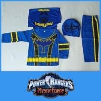 Baju Kostum Anak Superhero Power Ranger Biru Mystic Force Setelan