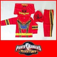 Baju Kostum Anak Superhero Power Ranger Merah Mystic Force Setelan - 4