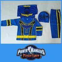 Baju Kostum Anak Superhero Power Ranger Biru Mystic Force Setelan - 4