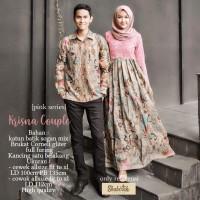 krisna couple baju gamis pesta batik brokat wanita pasangan sarimbit