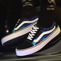 Sepatu Vans Old Skool Thrasher Biru Hitam Sneakers Pria Casual Import