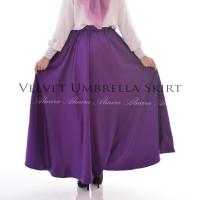 Rok Panjang Pesta Muslimah Velvet Umbrella Skirt