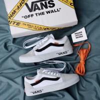 Sepatu OFF-WHITE x Vans Old Skool Virgil Abloh White Black