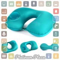 Romix Bantal Leher Travel Inflatable Neck Pillow - RH34 - Blue`WMSK03-