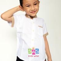 Kemeja Anak Laki - Laki putih coklat linen import halus KP 02