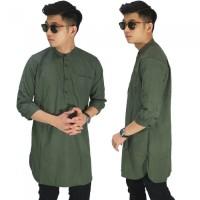 Baju Muslim Kurta Gamis 3/4 Polos Hijau Lumut/ Baju Koko Pria Pakistan