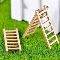 miniatur tangga kayu bahan craft, landscape, dll