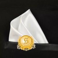 pocket square / sapu tangan saku putih polos silk import ready