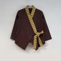 Baju atasan wanita blouse kimono kombinasi lurik