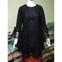 Baju Atasan Wanita Terbaru/Baju Atasan Tunik/Tunik Brukat TBL05 hitam