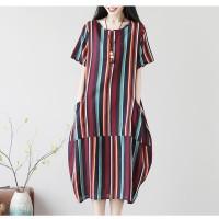 Dress Midi Gaun Terusan Navy Vertical Stripe Oversized (L) Import Ori