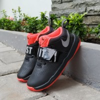 Sepatu Anak Nike Kids Team Hustle Just Do It Black Orange Original
