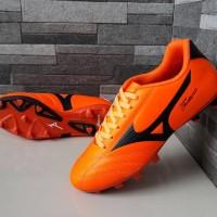 sepatu bola mizuno fortuna orange list hitam baru
