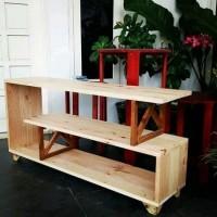 Meja Kayu Rak Kayu Serbaguna Jati Belanda Rak Buku Pembatas Ruangan