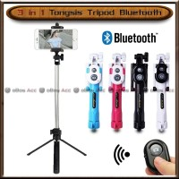 Tongsis Tripod 3 in 1 Remote Bluetooth Multifungsi IOS Android Hp