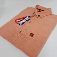 Orange Baju Kemeja Kantor Pria Cowok Lengan Pendek Model Terbaru