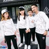 Baju Kaos Couple Lengan Panjang Family Keluarga 2 Anak Big Round LP