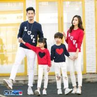 Baju Kaos Couple Lengan Panjang Family Keluarga 2 Anak Love Tangga