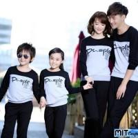 Baju Kaos Couple Lengan Panjang Family Keluarga 2 Anak Sweater
