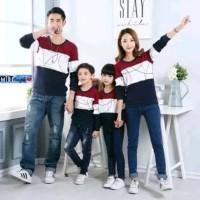 Baju Kaos Couple Lengan Panjang Family Keluarga 2 Anak Big Round