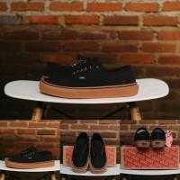Sepatu Vans Authentic Black Gum Ring Gold - Original PREMIUM BNIB