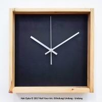Jam Dinding Kayu - BLACK BOX - Wooden Wall Clock