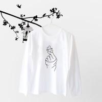 Tumblr Tee / T-Shirt / Kaos Wanita Lengan Panjang Sarang Warna Putih
