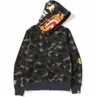 Bape Color Camo Tiger Full Zip Hoodie Black - A Bathing Ape Original