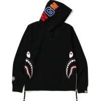 Bape Side Zip Shark Wide Pullover Hoodie Black - A Bathing Ape