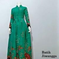 Baju Gamis Batik Wanita Kipas Hijau Tosca, Busui, Batik Pekalongan