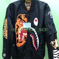 bape jacket bomber shark tiger black