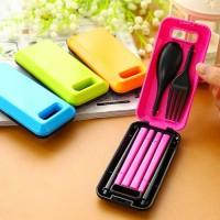 1 set alat makan sendok garpu sumpit portable 3in1 + box traveling