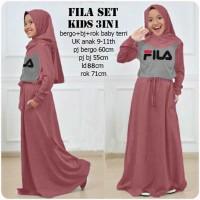 Fila set kids 3in1 pink dusty, baju muslim anak, Stellashoppie
